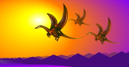 Dragons flying in the sky illustration for Dragon People Meditation